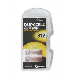Duracell ActivAir 312 (PR41) Hearing Aid Battery Pack of 6