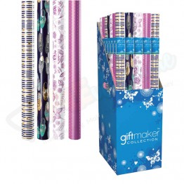 1.5M Retro & Floral Design Assorted Foil Gift Wrap Roll