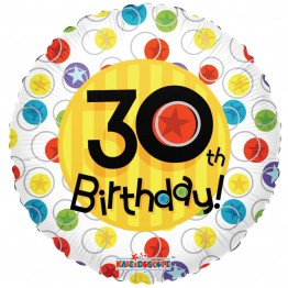 30th Happy Birthday White Dot Holographic Foil Helium Balloon (18 inch)