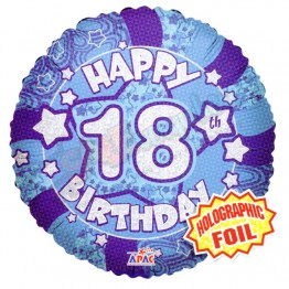 18th Happy Birthday Boy Blue Holographic Foil Helium Balloon (18 inch)