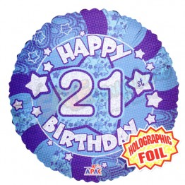 21st Happy Birthday Male Blue Holographic Foil Helium Balloon (18 inch)