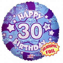 30th Happy Birthday Male Blue Holographic Foil Helium Balloon (18 inch)