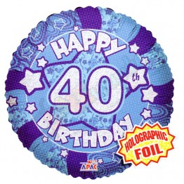 40th Happy Birthday Male Blue Holographic Foil Helium Balloon (18 inch)