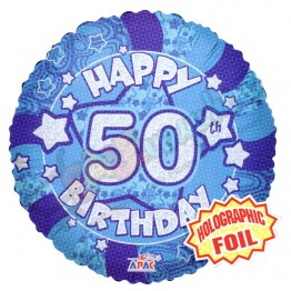 50th Happy Birthday Male Blue Holographic Foil Helium Balloon (18 inch)