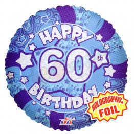 60th Happy Birthday Male Blue Holographic Foil Helium Balloon (18 inch)