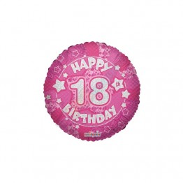 18th Happy Birthday Girl Pink Holographic Foil Helium Balloon (18 inch)