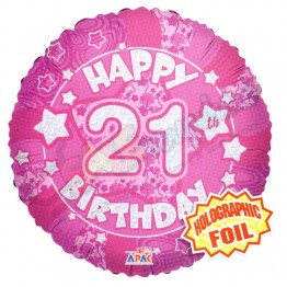 21st Happy Birthday Female Pink Holographic Foil Helium Balloon (18 inch)