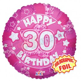 30th Happy Birthday Female Pink Holographic Foil Helium Balloon (18 inch)