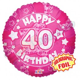 40th Happy Birthday Female Pink Holographic Foil Helium Balloon (18 inch)