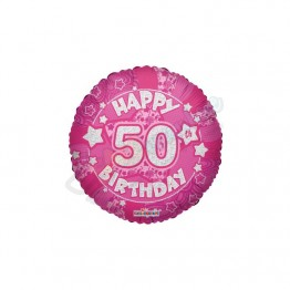 50th Happy Birthday Female Pink Holographic Foil Helium Balloon (18 inch)