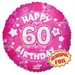 60th Happy Birthday Female Pink Holographic Foil Helium Balloon (18 inch)