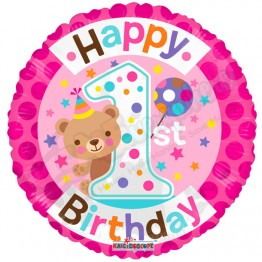 1st Happy Birthday Girl Pink Helium Balloon (18 inch)