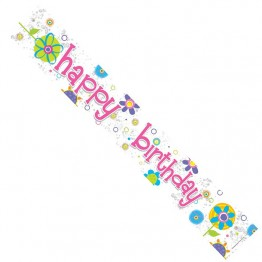 Happy Birthday Female Floral Foil Banner