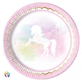 23cm Paper Plates Pack of 8 Believe In Unicorn