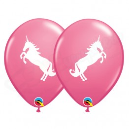 "11"" Rose Latex Balloons 2 Sided Pack of 6 Believe In Unicorn"