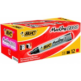 Bic Permanent Marker 2300 Chisel Tip Red, Pack of 12