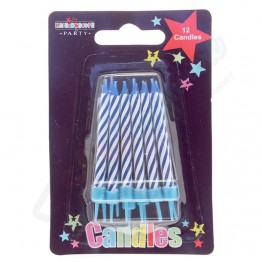 12 Blue Stripe Party Candle