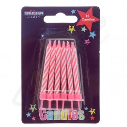 12 Pink Stripe Party Candle