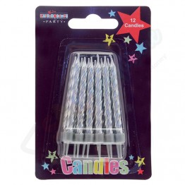 12 Silver Party Candles