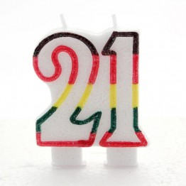 Number 21  Birthday Candles