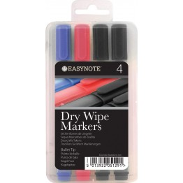 Easynote Dry Wipe Markers Asst Colours, Pack Of 4