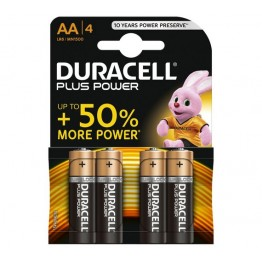 Duracell Plus Power Battery AA, Pack of 4 Carded
