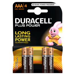 Duracell Plus Power Battery AAA, Pack of 4 Carded