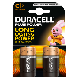 Duracell Plus Power Battery C, Pack of 2 Carded