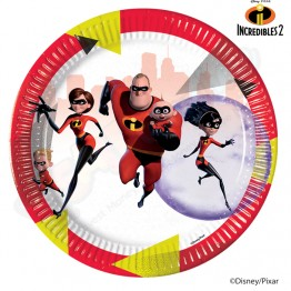 23cm Paper Plates Incredibles 2, Pack of 8