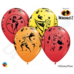 "11"" Latex Balloons Incredibles 2, Pack of 6"