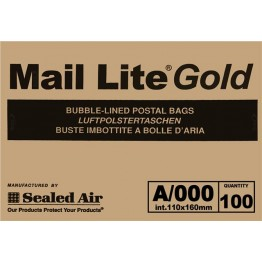 A/000 Mail Lite Gold/Brown Bubble Lined Envelopes 110 x 160mm - Box of 100