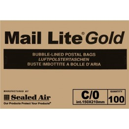 C/0 Mail Lite Gold / Brown Bubble Lined Envelopes 150 x 210mm - Box of 100