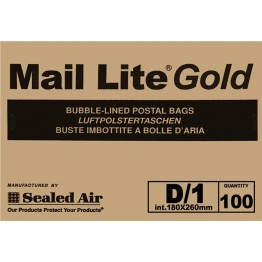 D/1 Mail Lite Gold / Brown Bubble Lined Envelopes 180 x 260mm - Box of 100