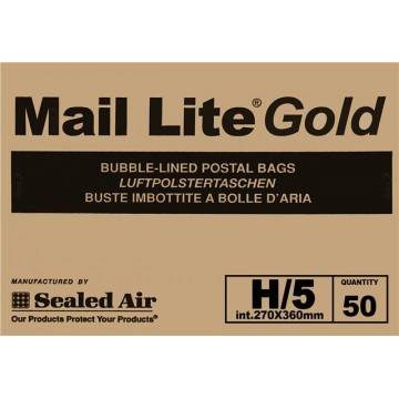 H/5 Mail Lite Gold / Brown Bubble Lined Envelopes 270 x 360mm - Box of 50