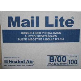 B/00 Mail Lite White Bubble Lined Envelopes 120 x 220mm - Box of 100