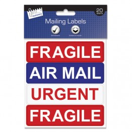 JS Self Adhesive 4 Mailing Label Sheet, Fragile, Urgent & Air Mail, Pack of 20 Sheets
