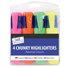 JS Chunky Highlighters Asst Colour, Pack of 4