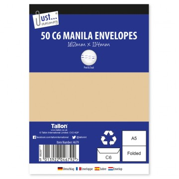JS Manilla / Brown Envelopes A6/C6, Pack of 50