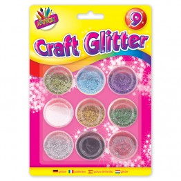 9 Metalic Colour Craft Glitter Pots
