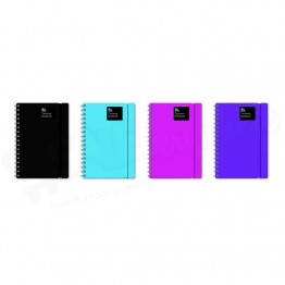 Blok Design Plastic Cover Spiral Notebook with Elastic Band A5/C5 Asst Colours, 140 Pages