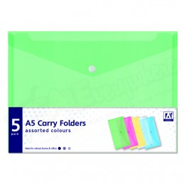 A5 Carry Folders,Assorted Colours, Pack of 6