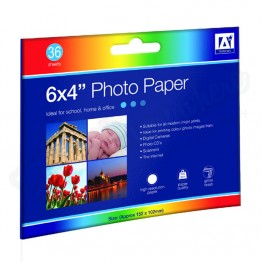 Photo Paper 6' x 4' Glossy Finish, Pack of 36 Sheets