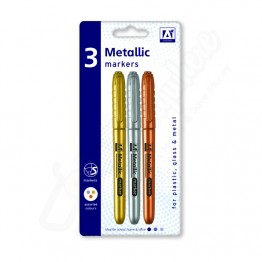 A* Metallic Permanent Marker Gold Silver & Copper Fine Tip, Pack of 3