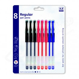 A* Gel Pen Regular Asst Colour, Pack of 8