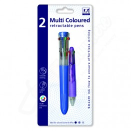A* Multi Coloured Retractable Pen, Pack Of 2