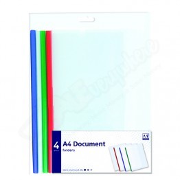 A* Document Folders Asst Colours A4/C4, Pack of 4