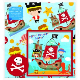 Pirate Party Design, 2 Wrapping Sheets 70 x 50mm + 2Tags + 1Card