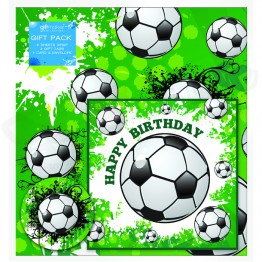Football Design Happy Birthday, 2 Wrapping Sheets 70 x 50mm + 2Tags + 1Card