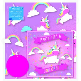 Unicorn Party, 2 Wrapping Sheets 70 x 50mm + 2Tags + 1Card