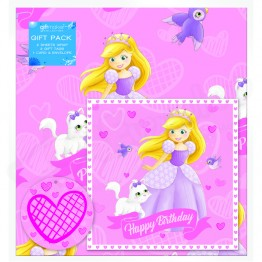 Princess Design Happy Birthday, 2 Wrapping Sheets 70 x 50mm + 2Tags +1Card